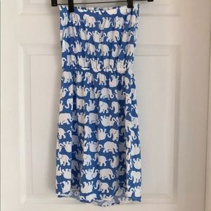 Lilly Pulitzer blue white strapless elephant dress
